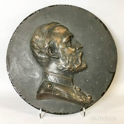 Large Continental Bronze Portrait Plaque
