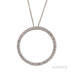 18kt White Gold and Diamond Circle Pendant, Roberto Coin