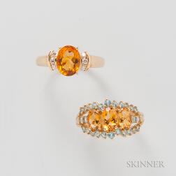 Two Gold and Citrine Rings