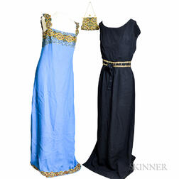Schiaparelli Black Silk Gown and a Blue Silk and Sequined Gown