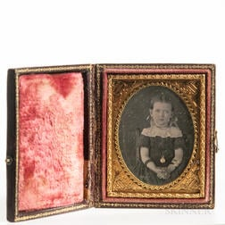 Ninth-plate Tinted Daguerreotype of a Seated Little Girl