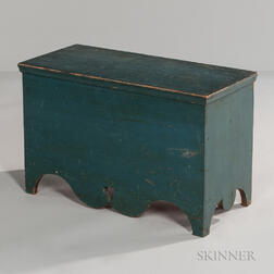 Small Blue-painted Pine Six-board Chest