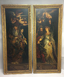 Continental School, 17th Century Style      Two Panels Depicting Standing Saints with Putti Above, Possibly Wings of an Altarpiece