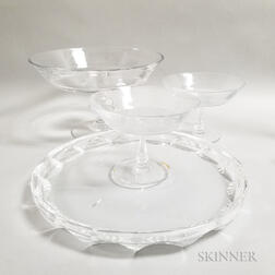 Crystal Serving Platter and Three Compotes
