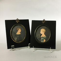 Pair of Framed Watercolor Portrait Miniatures