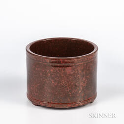 Mottled Iron Brown-glazed Brush Pot