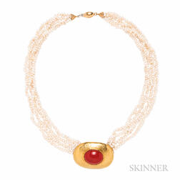 18kt Gold, Coral, and Freshwater Pearl Necklace