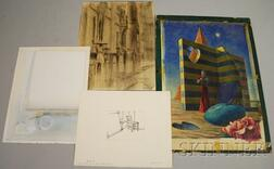 American School, 20th Century      Lot of Four Works on Paper