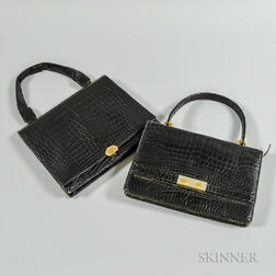 Two Vintage Black Alligator Handbags
