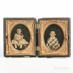 Pair of Ninth-plate Tinted Ruby Ambrotypes of a Sister and Brother