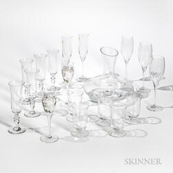 Group of Glass Barware, including a decanter, a pair of Steuben champagne flutes, three Dom Perignon flutes, three Perrier Jouet cham