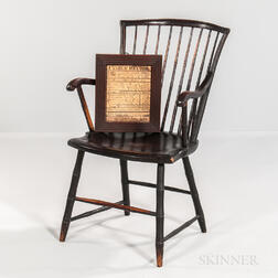 "Rod-back Windsor Armchair and a Pen and Ink ""Cook"" Family Record"