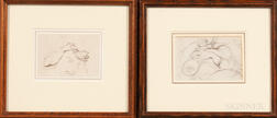 George Chinnery (British, 1774-1852)      Two Framed Sketches: Study of a Man's Hands Holding a Bowl and Chopsticks