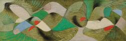 Herbert Bayer (Austrian/American, 1900-1985)      Untitled [Formulation in Red, Green, and Periwinkle]