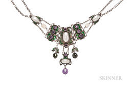 Arts and Crafts Silver Gem-set Necklace