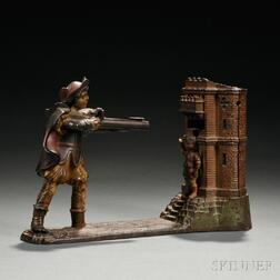 """Painted Cast Iron Mechanical """"William Tell"""" Bank"""