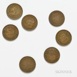 Seven 1867 Indian Head Cents