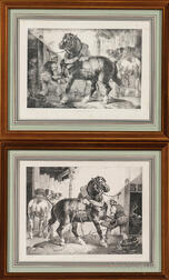 Théodore Géricault (French, 1791-1824)    Two Framed Lithographs: A French Farrier