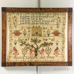 "Framed ""Elizabeth Losthouse"" Adam and Eve Needlework Sampler"
