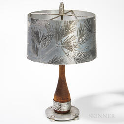 Wendell August Forge Aluminum Pine Cone and Needle Table Lamp