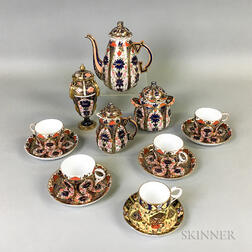 Twelve-piece Crown Derby Imari-palette Porcelain Tea Set