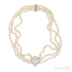 Art Deco Platinum, Diamond, and Pearl Necklace, Cartier Paris