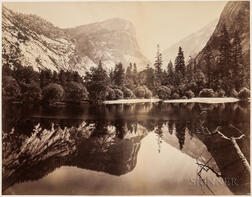 Watkins, Carleton (1829-1916) Mammoth Albumen Photograph, Mirror Lake, Yosemite  , 1865-1866.