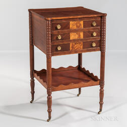 Cherry and Mahogany and Satinwood Inlaid Worktable