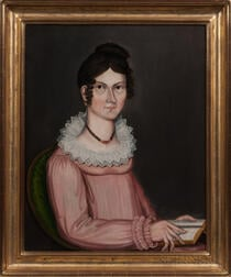 American School, Early 19th Century      Portrait of a Young Woman in a Pink Dress