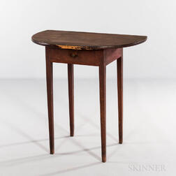 Small Red-painted Pine and Cherry Demilune Console Table
