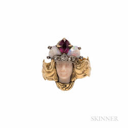 18kt Gold Gem-set Figural Ring