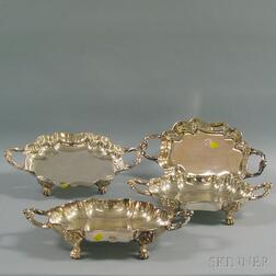 Set of Four Silver-plated Shaped Footed Dishes