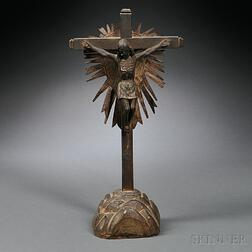 Spanish Colonial Wood and Iron Crucifix