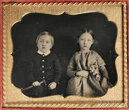 Sixth-plate Tinted Daguerreotype of a Brother and Sister