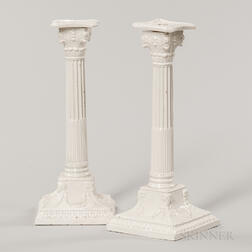 Pair of Columnar Creamware Candlesticks
