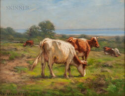 Carleton Wiggins (American, 1848-1932)      Cows by the Sea