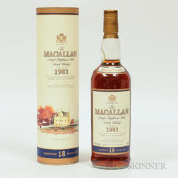 Macallan 18 Years Old 1981, 1 750ml bottle (ot)