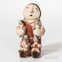 Contemporary Acoma Storyteller Figure with Five Children