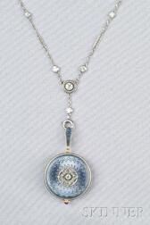 Edwardian 14kt Gold and Enamel Pendant Watch,  with Platinum and Diamond Chain, Char