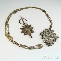 19th Century Russian Silver Cross and Penannular Cloak Pin