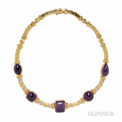 18kt Gold, Amethyst, and Diamond Necklace