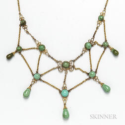 14kt Gold and Turquoise Festoon Necklace