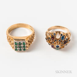 14kt Bicolor Gold and Emerald Ring and a 14kt Gold Gem-set Ring