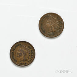 Two 1864 L on Ribbon Indian Head Cents