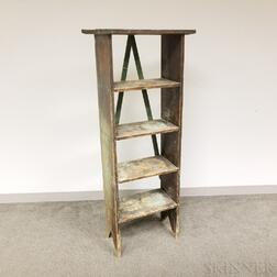 Green/Blue-painted Pine Four-tier Book Shelf
