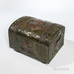 Arts and Crafts Repousse Metalwork Jewelry Casket