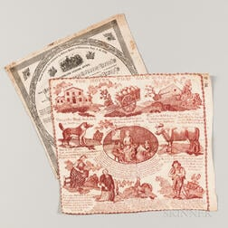 Two Copper Plate Printed Handkerchiefs