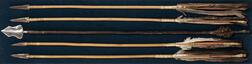 Four Metal-tip Plains Arrows and a Japanese Arrow