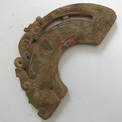 Archaic-style Carved Jade Dragon Plaque