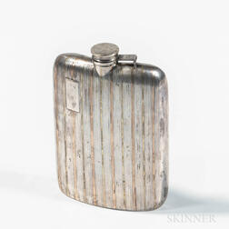 Art Deco Gold-banded Sterling Silver Flask